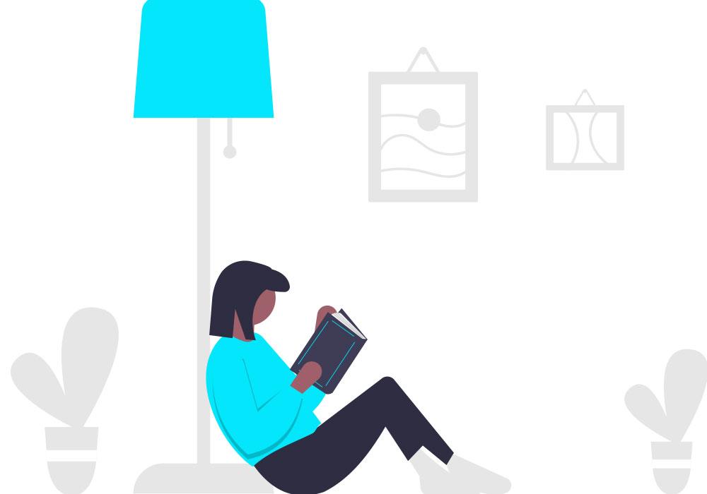 girl study at home digital illustration